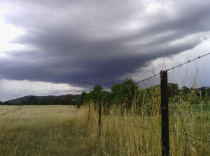 Storm clouds over paddock fence