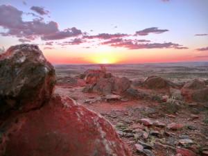 Sunset over desert landscape