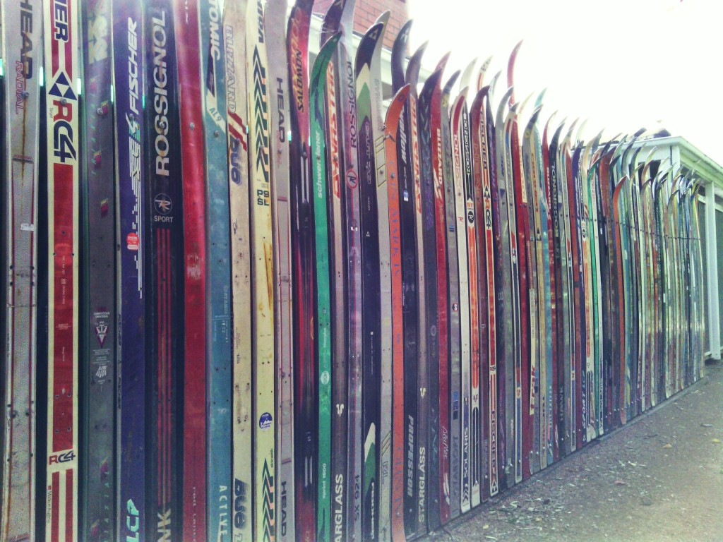 Fence made from skis