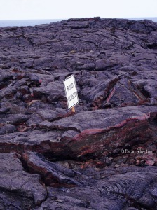 Road closed sign in endless lava