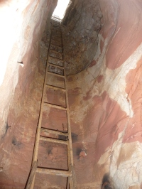 Ladder in a sandstone opal mine shaft